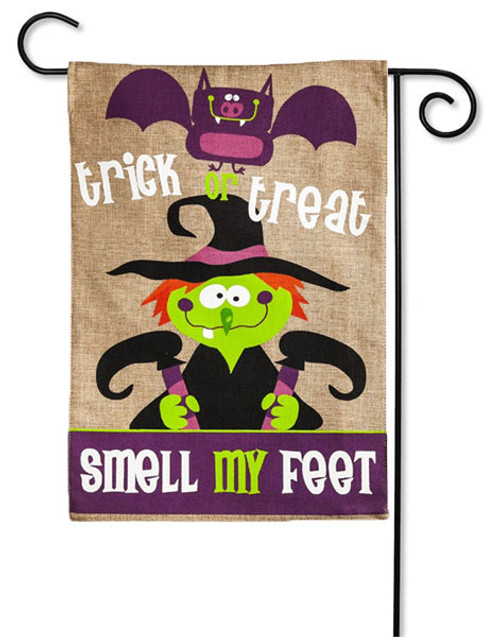 "Smell My Feet Burlap Garden Flag - 2 Sided Message - 12.5"" x 18"" - Evergreen"