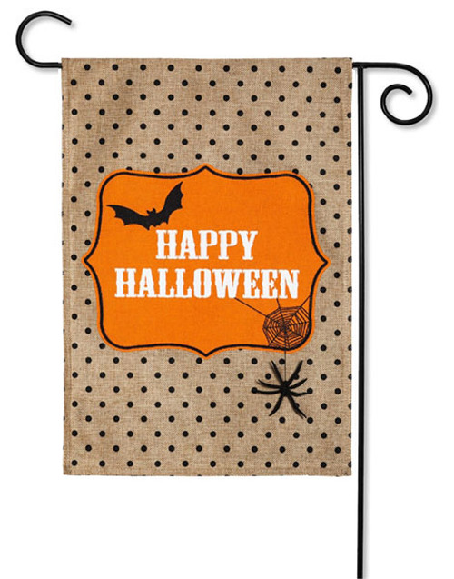 "Happy Halloween Burlap Garden Flag - 2 Sided Message - 12.5"" x 18"" - Evergreen"