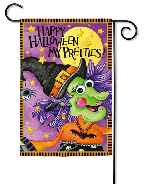 "Halloween Pretties Garden Flag - 2 Sided Message - 12.5"" x 18"" - Evergreen"