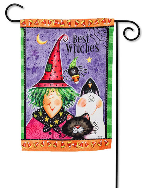 "Best Witches Garden Flag - 2 Sided Message - 12.5"" x 18"" - Evergreen"