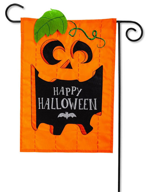 "Happy Halloween Jack-O-Lantern Applique Garden Flag - 2 Sided Message - 12.5"" x 18"" - Evergreen"