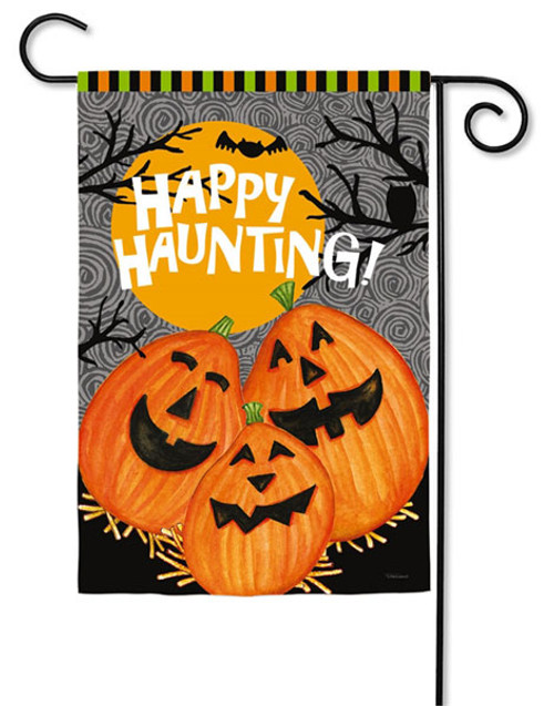 "Happy Haunting Jack Garden Flag - 2 Sided Message - 12.5"" x 18"" - Evergreen"