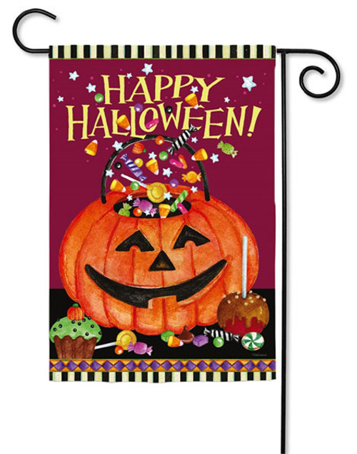 "Smiling Pumkin Pail Garden Flag  - 2 Sided Message - 12.5"" x 18"" - Evergreen"
