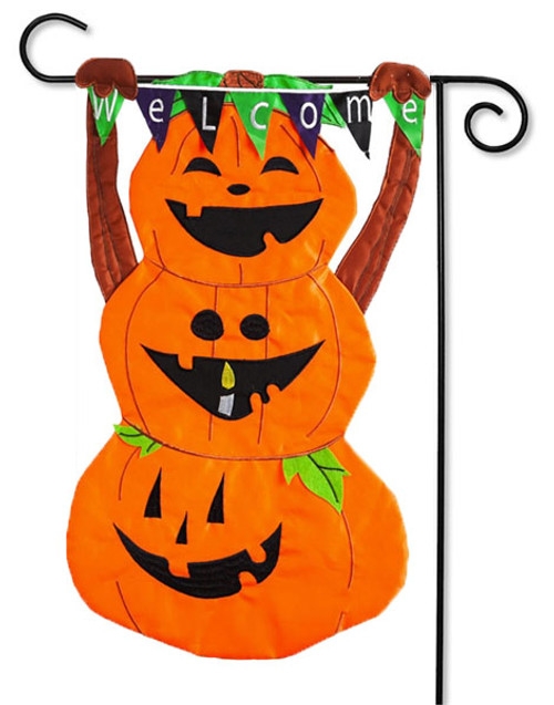 "Welcome Pumpkin Totem Applique Garden Flag - 2 Sided Message - 12.5"" x 18"" - Evergreen"
