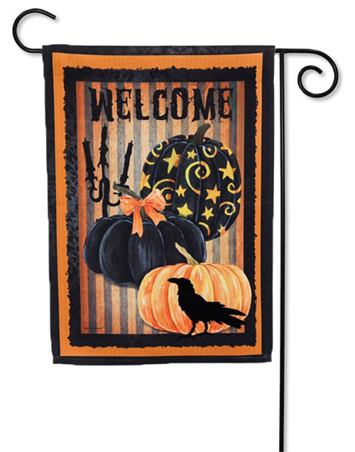 "Welcome Halloween Pumpkins Garden Flag - 2 Sided Message - 12.5"" x 18"" - Evergreen"