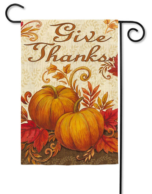 "Give Thanks Pumpkins Garden Flag - 2 Sided Message - 12.5"" x 18"" - Evergreen"