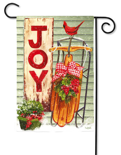 "Winter Porch Garden Flag - 2 Sided Message - 12.5"" x 18"" - Evergreen"
