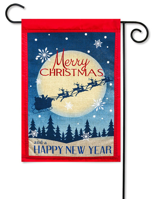 "Merry Christmas Happy New Year Burlap Garden Flag - 2 Sided Message - 12.5"" x 18"" - Evergreen"
