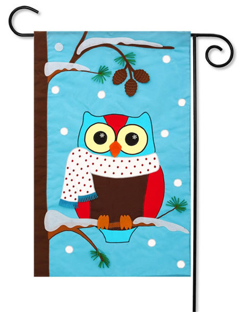 "Winter Owl Applique Garden Flag - 2 Sided Message - 12.5"" x 18"" - Evergreen"
