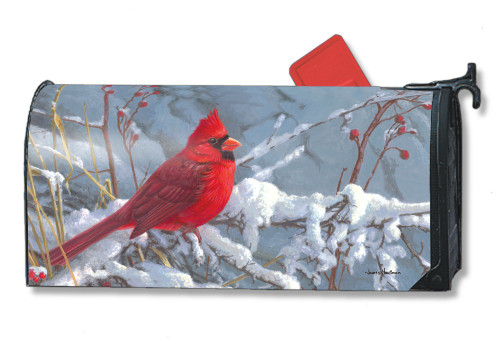 Cardinal in Snow Magnetic Mailbox Cover