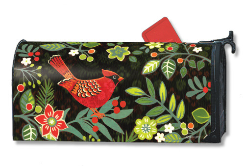 Folk Cardinal Magnetic Mailbox Cover
