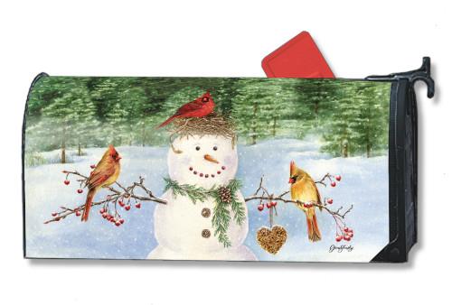 Snowman Birdfeeder Magnetic Mailbox Cover