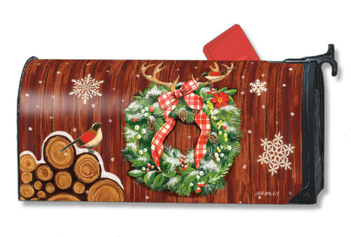 Cozy Cabin Wreath Magnetic Mailbox Cover