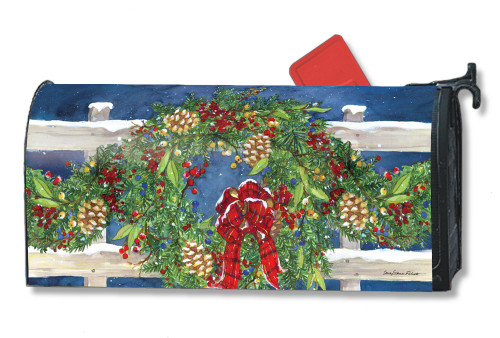 Winter Wreath Magnetic Mailbox Cover