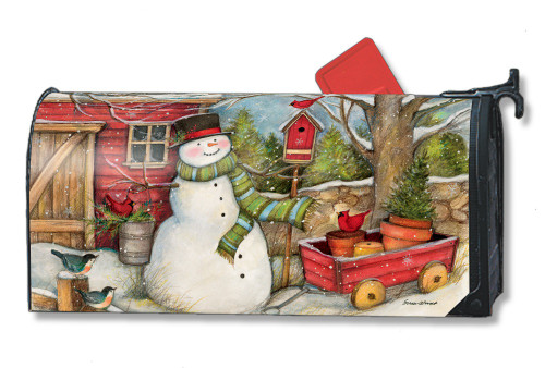 Red Barn Snowman Magnetic Mailbox Cover