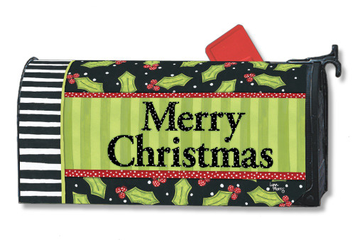 Holly Leaves Magnetic Mailbox Cover