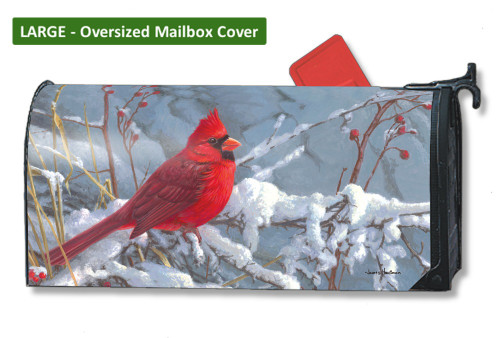 Cardinal in Snow LARGE Magnetic Mailbox Cover