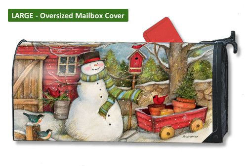 Red Barn Snowman LARGE Magnetic Mailbox Cover