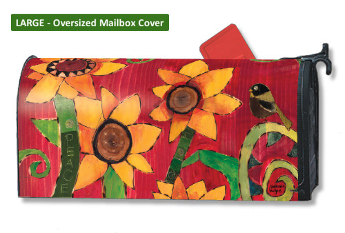 Peace Sunflower LARGE Magnetic Mailbox Cover