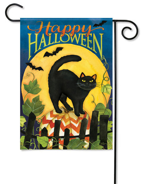 "Black Cat Halloween Garden Flag - 13 "" x 18"" - 2 Sided Message - Flag Trends"