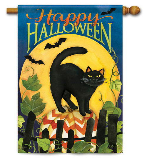 "Black Cat Halloween House Flag - 28"" X 40"" - 2 Sided Message - Flag Trends"