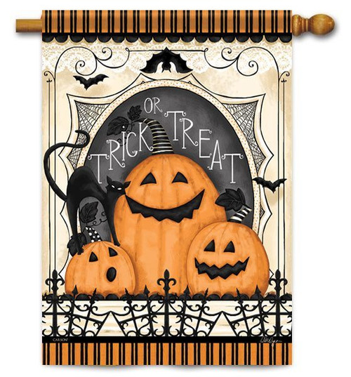 "Spooky Pumpkin Trio House Flag - 28"" X 40"" - 2 Sided Message - Flag Trends"