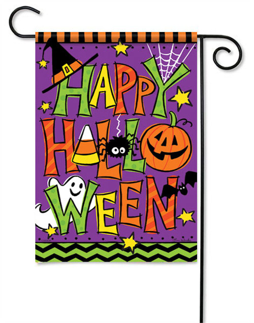 "Happy Halloween Garden Flag - 13 "" x 18"" - 2 Sided Message - Flag Trends"