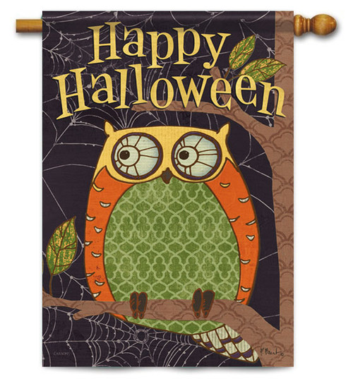 "Halloween Owl House Flag - 28"" X 40"" - 2 Sided Message - Flag Trends"
