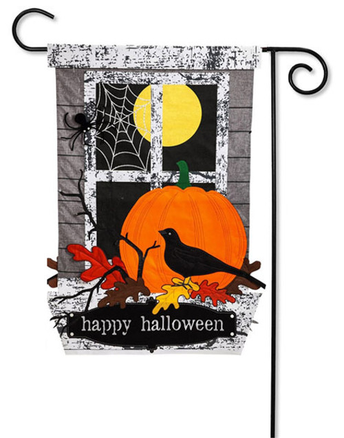 Happy Halloween Applique Garden Flag - 2 Sided Message - Evergreen