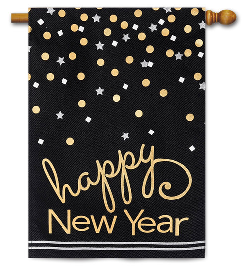 "Happy New Year Burlap House Flag - 28"" x 44"" 2 Sided Message - Evergreen"