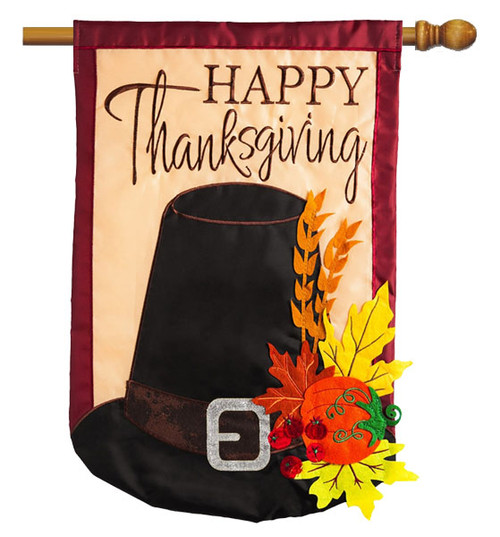 "Thanksgiving Pilgrim Hat Applique House Flag - 28"" x 44"" 2 Sided Message - Evergreen"