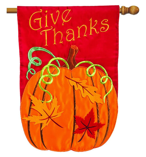 "Give Thanks Applique House Flag - 28"" x 44"" 2 Sided Message - Evergreen"