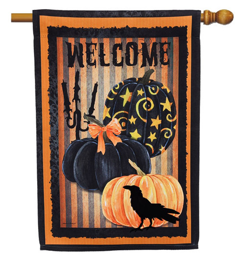 "Welcome Halloween Pumpkins House Flag - 29"" x 43"" - 2 Sided Message - Evergreen"