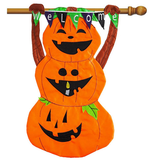 "Welcome Pumpkin Totem Applique House Flag - 28"" x 44"" 2 Sided Message - Evergreen"