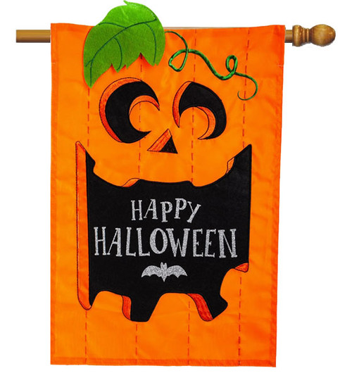 "Happy Halloween Jack-O-Lantern Applique House Flag - 28"" x 44"" 2 Sided Message - Evergreen"