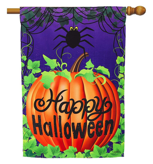 "Halloween Spider House Flag - 29"" x 43"" - 2 Sided Message - Evergreen"