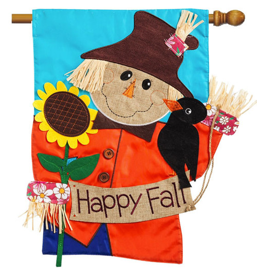 "Scarecrow Applique House Flag - 28"" x 44"" - 2 Sided Message - Evergreen"