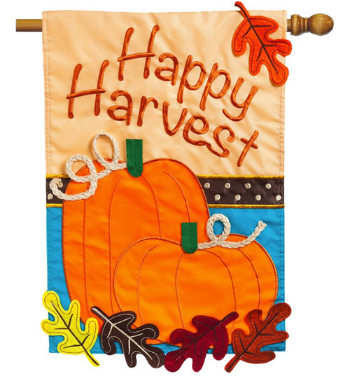"Happy Harvest Applique House Flag - 28"" x 44"" - 2 Sided Message - Evergreen"