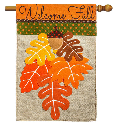 "Fall Leaves Burlap House Flag - 28"" x 44"" - 2 Sided Message - Evergreen"
