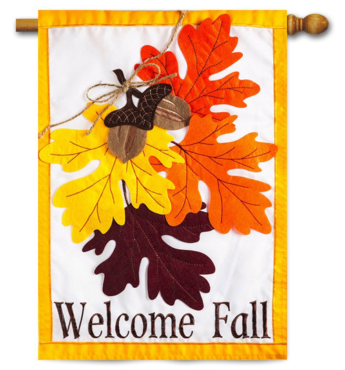 "Autumn Leaves Applique House Flag - 28"" x 44"" -  2 Sided Message - Evergreen"