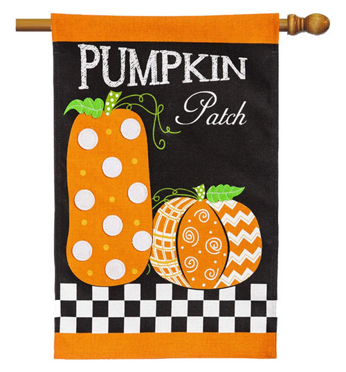 "Pumpkin Patch Burlap House Flag - 28"" x 44"" 2 Sided Message - Evergreen"