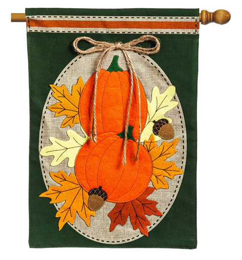 "Pumpkin Duo Burlap House Flag - 28"" x 44""  - Evergreen"