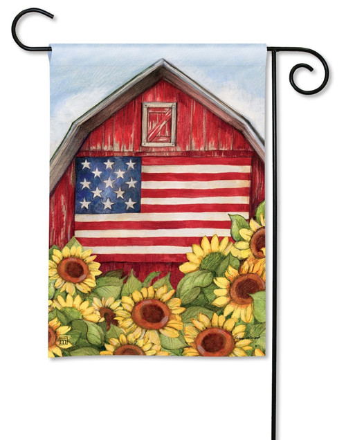 "Old Glory Barn Garden Flag - 12.5"" x 18"" - BreezeArt"