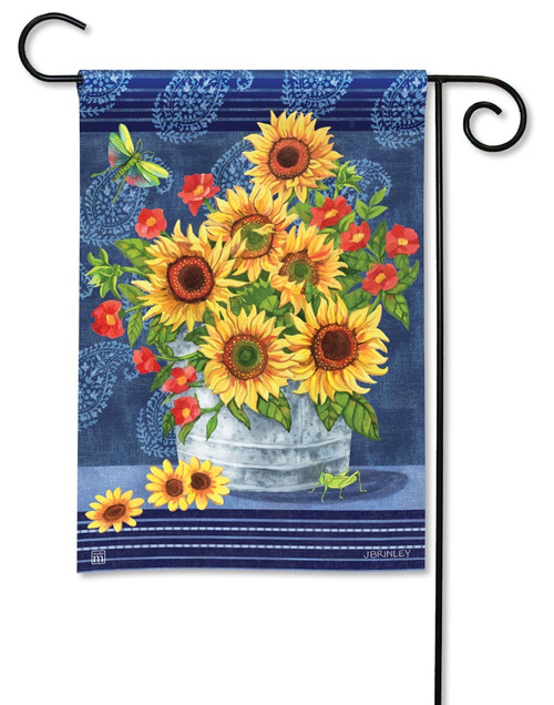 "Denim Sunflowers Garden Flag - 12.5"" x 18"" - BreezeArt"