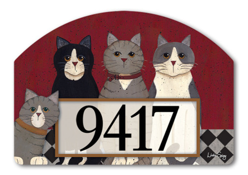 "Kitties at Home Yard DeSign Address Sign - 14"" x 10"""