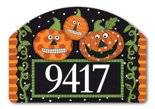 "Pumpkin Faces Yard DeSign Address Sign - 14"" x 10"""