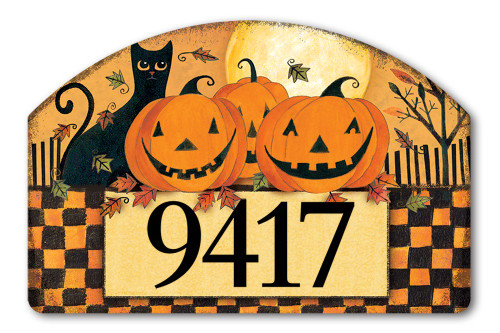 "Halloween Glow Yard DeSign Address Sign - 14"" x 10"""