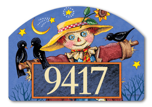 "Moonlight Scarecrow Yard DeSign Address Sign - 14"" x 10"""