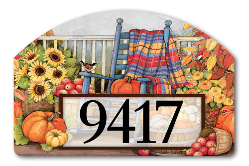 "Autumn Porch Yard DeSign Address Sign - 14"" x 10"""