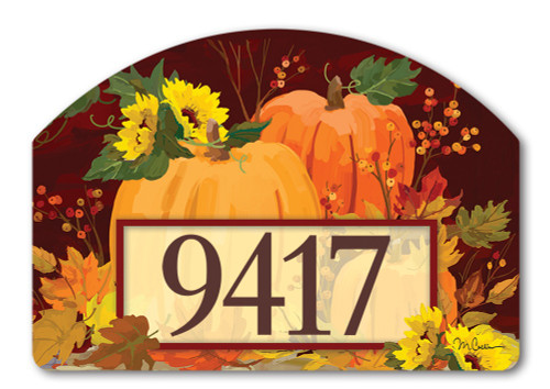 "Harvest Pumpkins Yard DeSign Address Sign - 14"" x 10"""